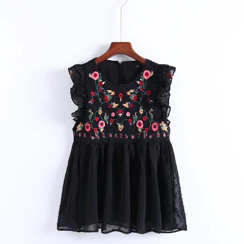 YSMILE Y Women Sweet Sleeveless Ruffles Floral Embroidery Blouse Fashion Women Summer O Necklace European Tops Blusas