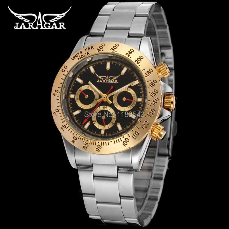 JARGAR JAG6903M4T3 Automatic fashion dress wristwatch silver watch with stainless steel band for men hot selling free ship jargar jag6902m3s2 automatic dress wristwatch silver color with black leather steel band for men hot selling free shipping