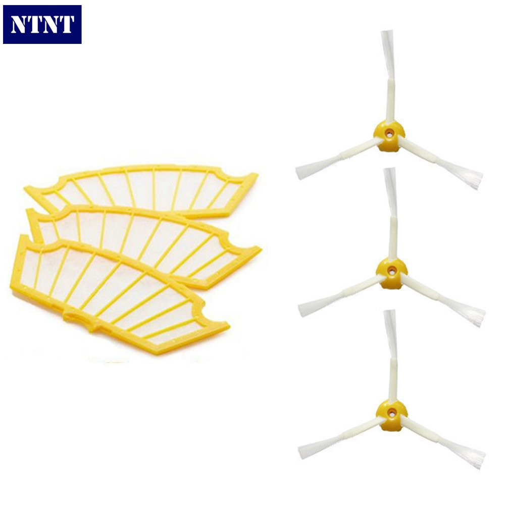 купить NTNT Free Post New 3 Filters+3 Side Brush 3 Armed for iRobot Roomba 500 Series 530 550 560 570 дешево