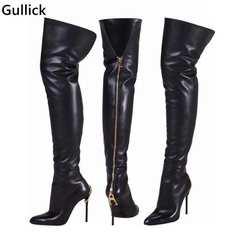 Newest Fashion Black Leather Thigh High