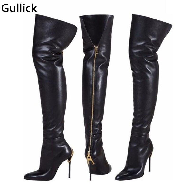 Più nuovo Modo Nero Pelle di Alta Della Coscia Avvio Zip Dorata Decor a punta Toe Boot Stretto Sottile Sottile Stivali Tacchi Alti Per donna