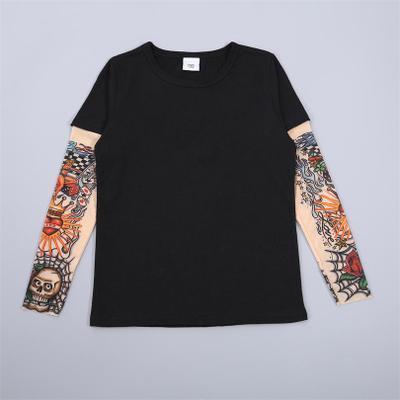 Ropa de niños niño tatuaje camiseta verano nuevos dibujos animados camisetas de manga larga camisetas impresas niños Tops bebé marca Vestidos