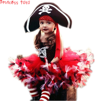Halloween Costume Pretty Little Pirate Girl Tutu Dress Baby Toddler Girl Birthday Party Dress With Hat For Christmas CosplayLU37