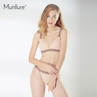 Munllure Sexy Transparent Ultra-Thin Lace Bra Set Women Fashion Solid Lace  Widen The Chest 7ff73415a