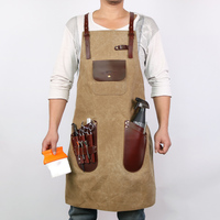 WEEYI Salon Thickness Waxed Canvas Apron Hairdresser Barber with Pockets and Leather Water resistant Professional Vintage Brown