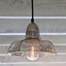 Retro Café Bar luzes pingente sombra De Vidro Americano Do Vintage Ferro Antigo pingente levou lâmpada Luz da cozinha moderna iluminação Interior