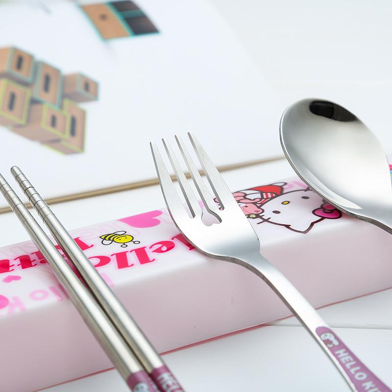 Tableware-Cartoon-Stainless-Steel-Cutlery-Hello-kitty-Dinnerware-Chopstick-Spoon-Fork-with-Box-Outdoor-Travel-Dinner (1)