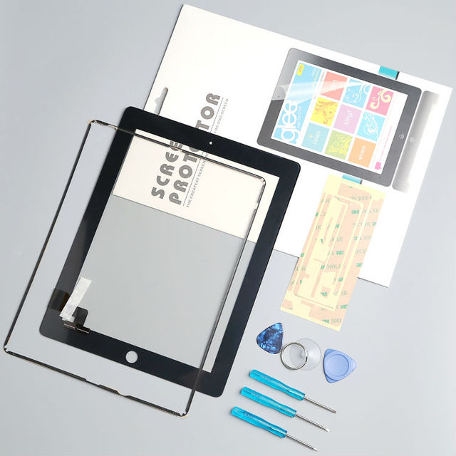 HuaSha  tested well  Front Glass Replacement with Professional Repair Kit LCD Touch Screen Digitizer For iPad 2 with protector