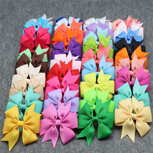 Sale Baby Candy Colorful Ribbon Bow Cute Girls Hairpins Children Hair Clip Accessories Headwear 40 Colors