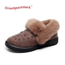 Snow Suede Ankle Boots Women Flats Winter Warm Short New  Shoes Fur Plush Black Brown