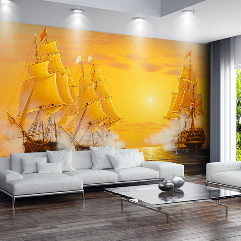 Custom Any Size Murals Wallpaper 3D Sailboat Oil Painting Photo Wall Paper For Living Room TV Sofa Background Wall Covering 3 D