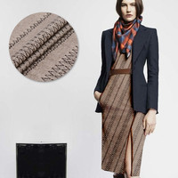 Khaki Jacquard Wool Fabric Autumn And Winter Clothing Fashion Clothing Dress Skirt Suit Cloth