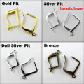 Pick 4 Colors 100pcs Ear Wire Hooks Stopper Clips&Locks/Earring Posts W/Stoppers 20x12.5mm Nickel FREE( w02911)