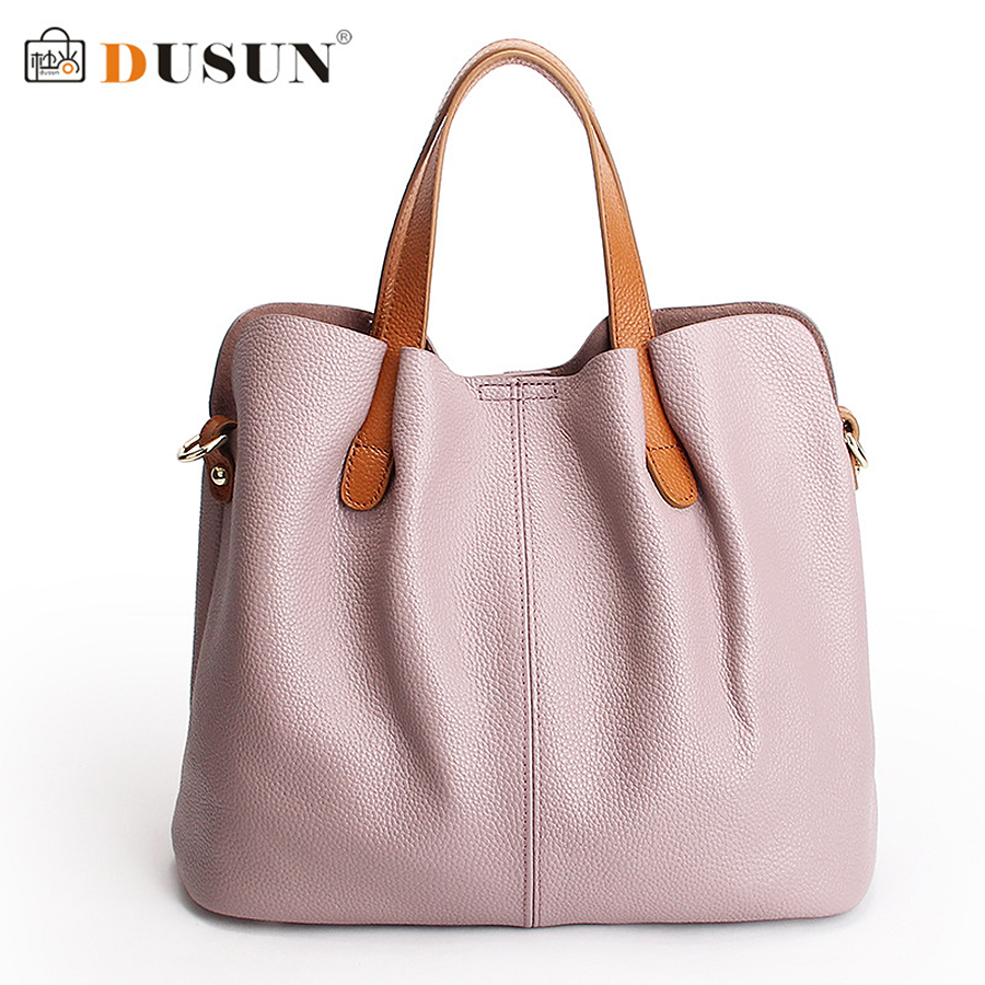 DUSUN Luxury Genuine Leather Solid Color Large Capacity Women Shoulder Bags Ladi