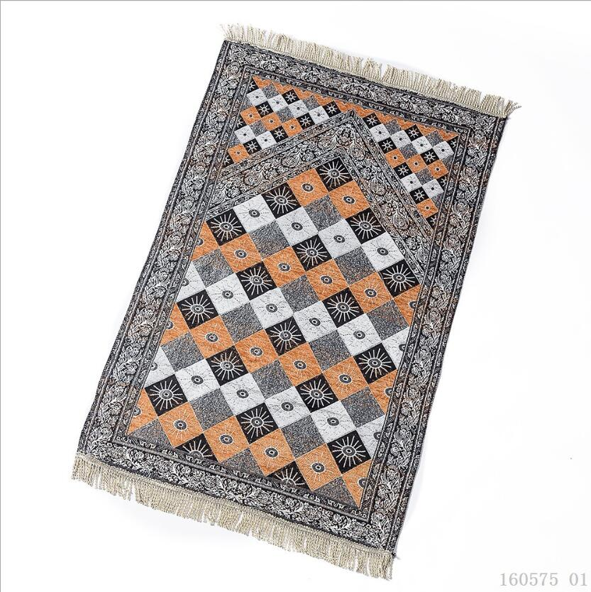 Diamond-shaped Floral Pattern Chenille Muslim Prayer Rug for Living Room Throw Blanket Rectangle Mat Rugs for Kitchen Red Carpet