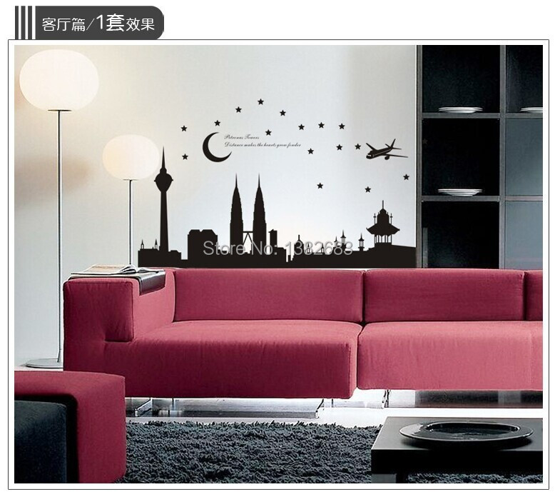 aliexpresscom buy free shipping home decor malaysia petronas twin towers moon and stars bedroomparlour background wall sticker 6090cm ay1938 from - Home Decor Malaysia