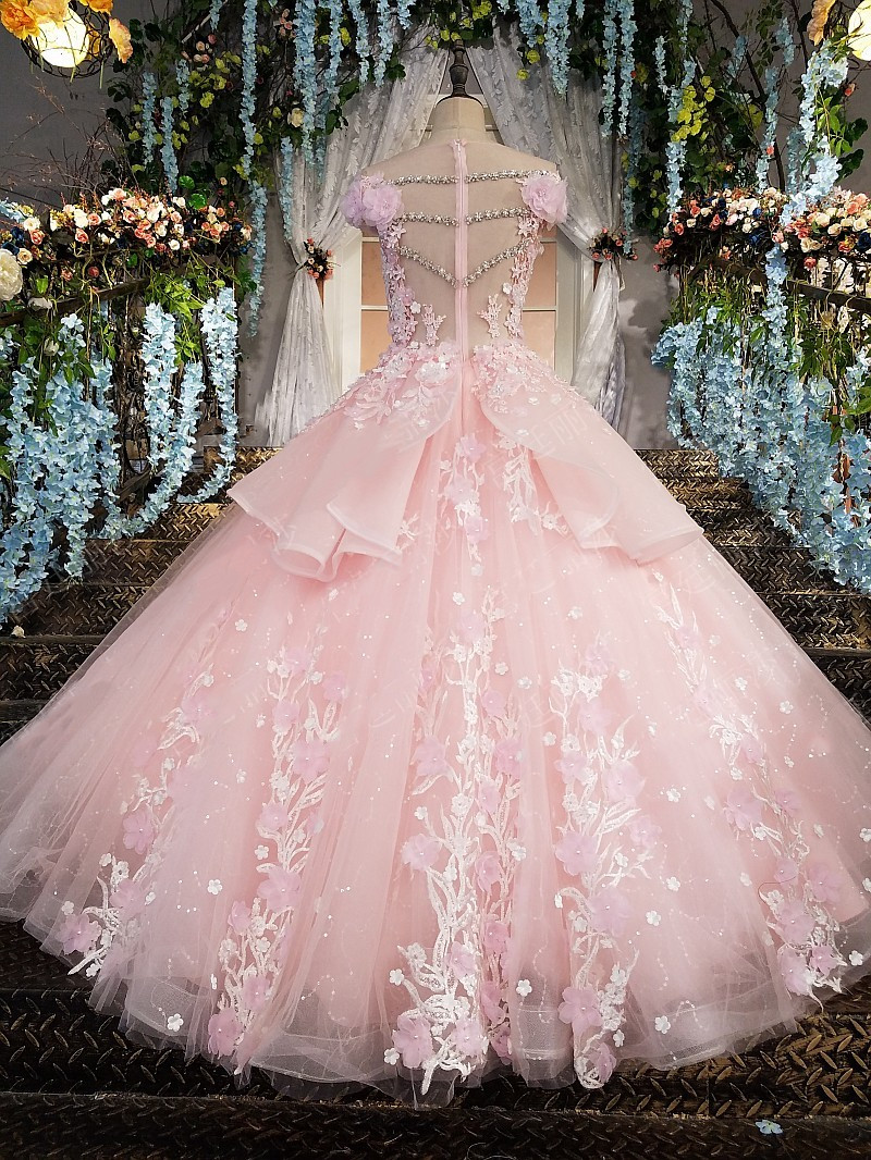 Image 2 - Pink Prom Dresses 2019 Lace Appliques Ball Gown Tulle Sequin Scoop Cap Sleeves Vestidos De Fiesta De Noche Largos Elegantes-in Prom Dresses from Weddings & Events
