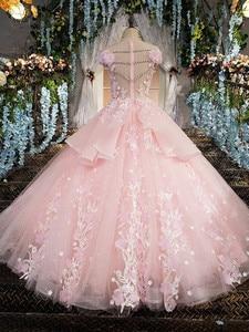 Image 2 - Pink Prom Dresses 2020 Lace Appliques Ball Gown Tulle Sequin Scoop Cap Sleeves Vestidos De Fiesta De Noche Largos Elegantes