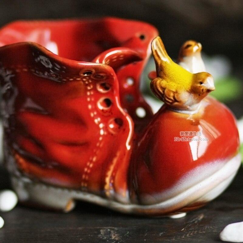 Ceramic Creative Animal Shoes Boots Flower Vase Pot Home Decor Pen Case  Craft Room Decoration Handicraft Porcelain Figurine In Vases From Home U0026  Garden On ...