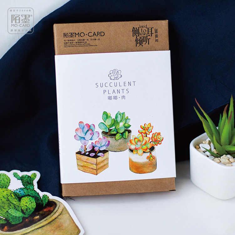 น่ารักพืช Night เรืองแสงโปสการ์ด Kawaii DIY ไดอารี่ตกแต่งเครื่องเขียน Notepad ข้อความการ์ดวันเกิดของขวัญการ์ด 30 แผ่น/กล่อง