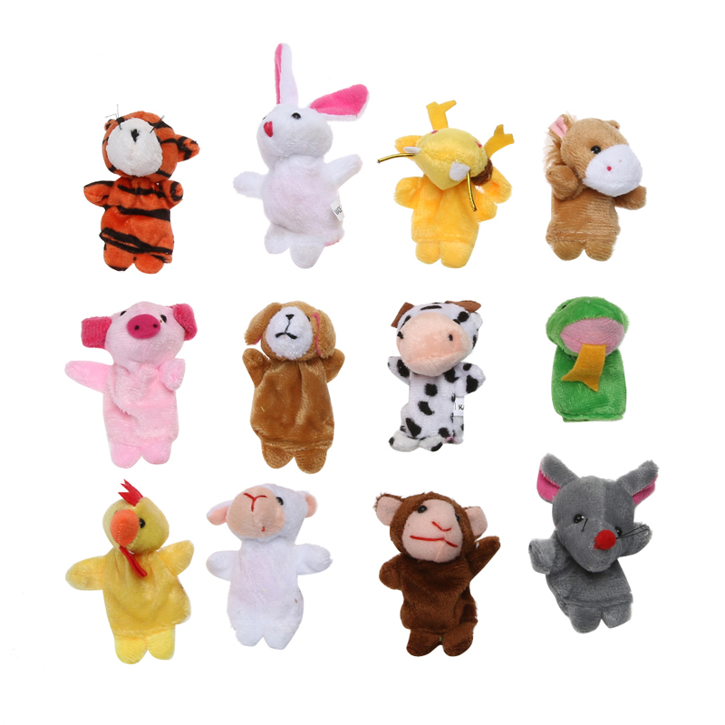 12pcs/lot Finger Puppet Plush Toys For Kid Chrismas Gift Animal Cartoon Chinese Zodiac Biological Doll Baby Favorite Finger Doll