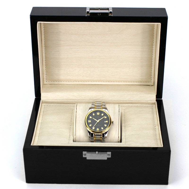 High grade black real wood jewelry and jewelry, watch box high grade packaging display collection shelf collection clock box russia s old elm purple yu pure real wood double box box jade jewelry bracelet receive a cassette of the lock