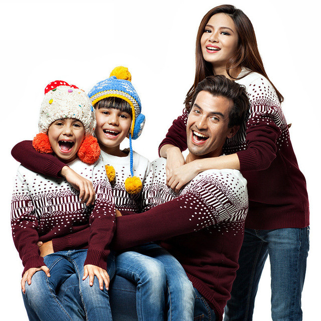 1 Lote 3 Unidades Familiares A Juego Sueteres De Navidad Con El Copo