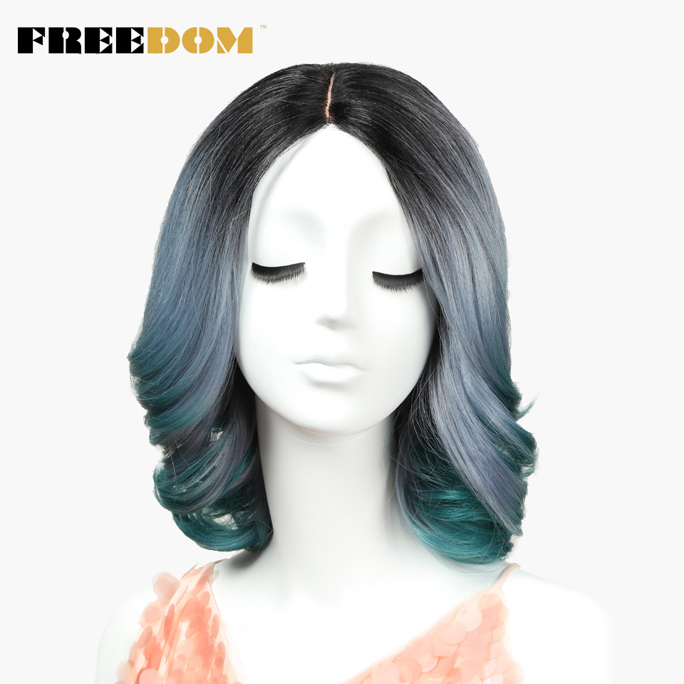 FREEDOM Synthetic Hair Wigs For Black Women 12Inch Wavy Short Lace Wigs African American Synthetic Wig 3Color Free Shipping