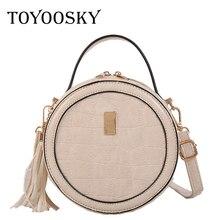 TOYOOSKY Women Mini Circle Handbag Crocodile Pattern Round Crossbody Bag Female Tassel Famous Brand Shoulder Clutches