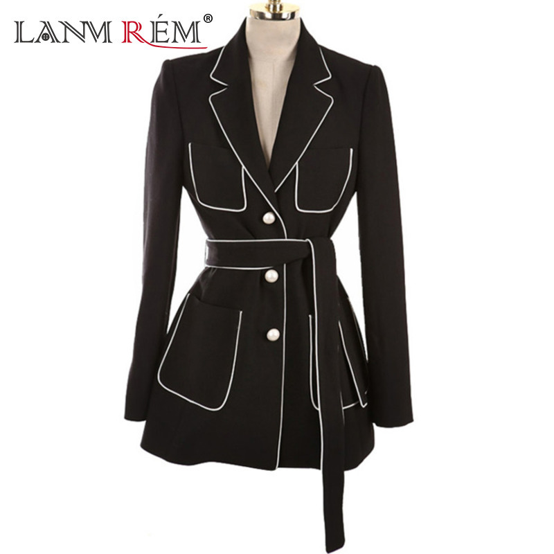 LANMREM 2018 Summer New Coat Notched Collar Full Sleeve Sashes Empire Tunic Waist Color Spliced Ladies Fashion Blazer BC032