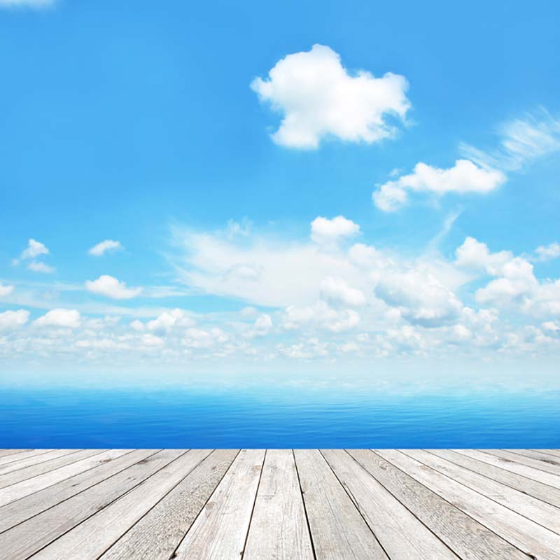 Seaside Beach White Clouds And Blue Sky photo backdrop Vinyl cloth Computer printed wedding Backgrounds