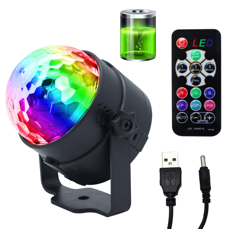 Mini Magic Ball LED Light Christmas Lights Sound Activated Flashlight DJ Stage Lights For Ramadan Decorations Lamp Party Lights