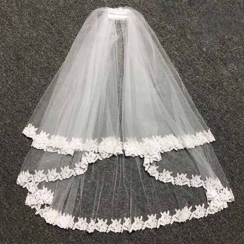JIERUIZE In Stock Lace White Two Layers Wedding Veils Ribbon Edge with Comb High Quality Wedding Accessories Short Bridal Veil 2