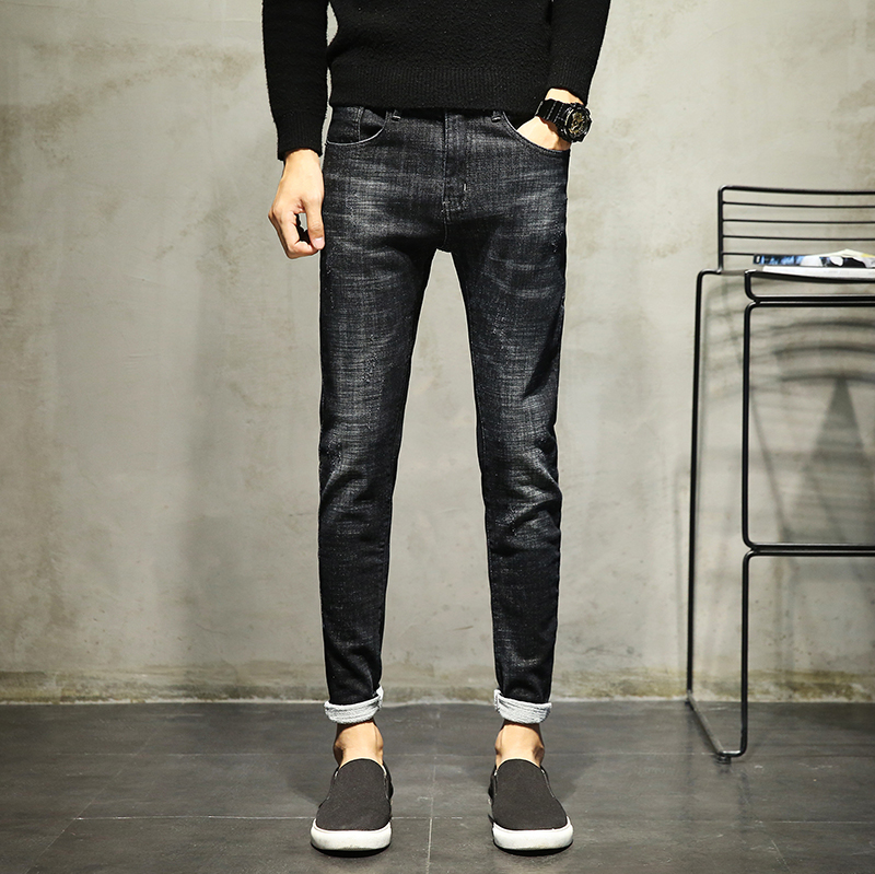Mens Trousers Fashion Men Casual Black Full Length Pants 2018 New Brand Slim Solid Color Pencil Elasticity Jeans Plus Size 38