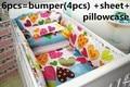 Linda flor em berço berço cama set roupas de cama ( bumpers folha + travesseiro )