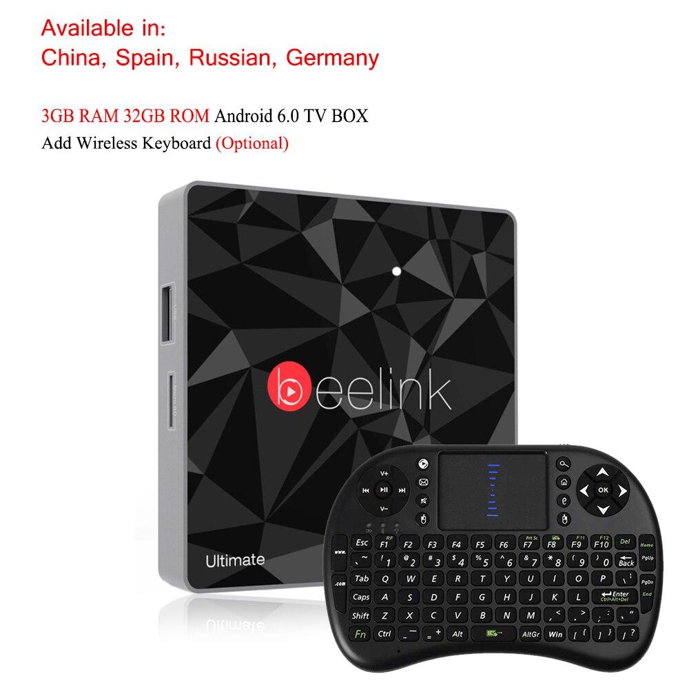 Beelink GT1 Ultimate LED Android 6.0 4K 60fps Smart Set Top Box Remote 3GB+32GB Mali-T820MP3 GPU WIFI BT Smart TV Box Player метчики 1 4 32