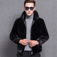 1772 New Fashion 2017 sheep shearing jacket Men's Hoodie leather coat Men Sheep fur Coat Man Thickening Winter Coat
