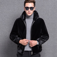 1772 New Fashion 2017 sheep shearing jacket Men's Hoodie leather coat Men Sheep fur Coat Man Thickening Winter Coat