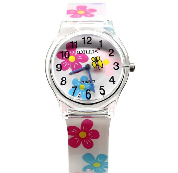 Quartz Women Willis Brand Waterproof Watches Round Dial Analog butterfly Flowers Resins Wrist Plastic Fashion Watch Band 10pcs цена