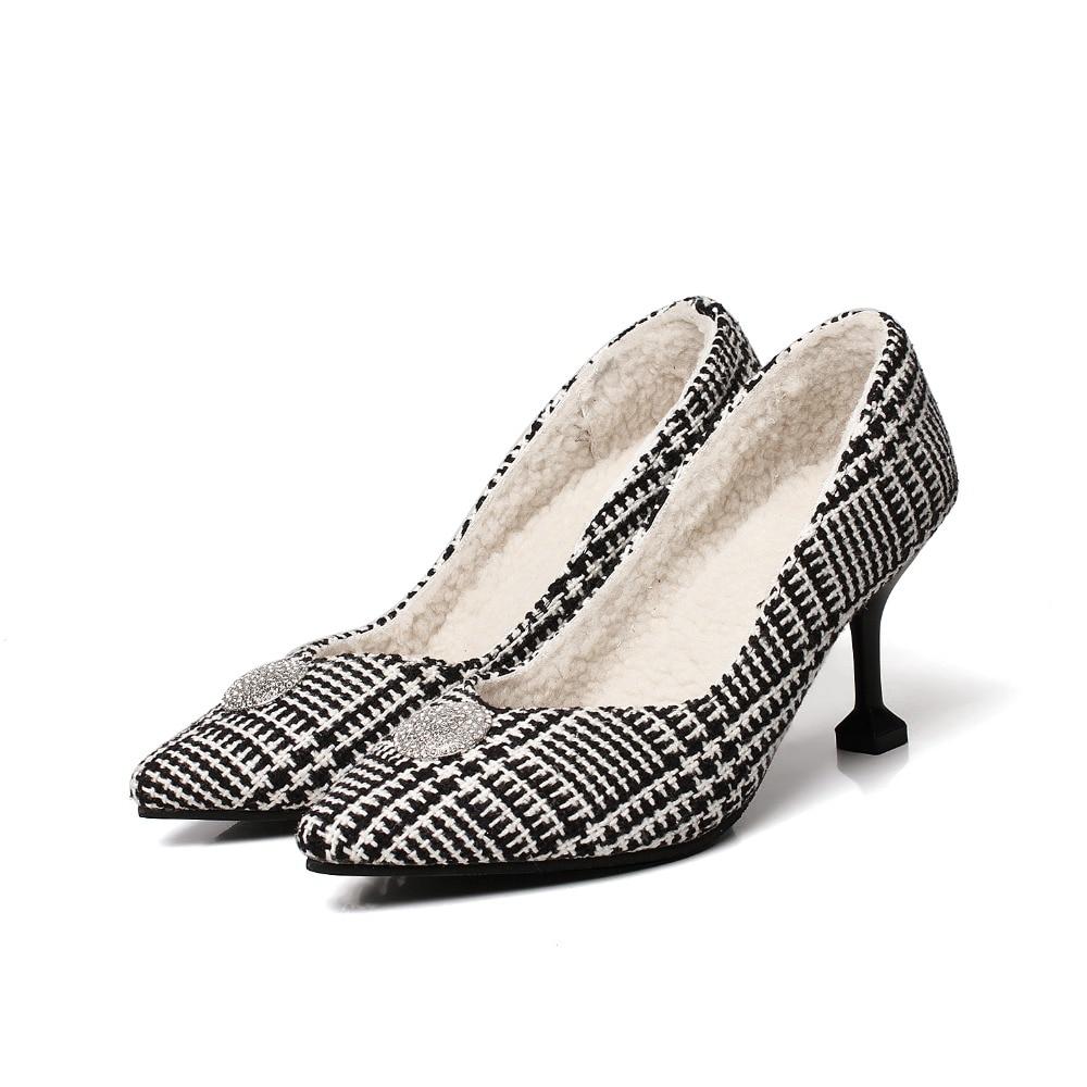 Partie Talons Mode Mince Femmes De Pointu Cristal Haute multi Chaud on Slip Hiver Pompes Mariage En Chaussures Peluche Élégant Noir Automne Bout q5gO5w