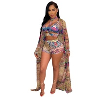 Colorful Print Three Piece Set Summer Clothes Hollow Out Crop Top And Skinny Shorts And Long Maxi Cardigan 3 Pcs Beach Tracksuit