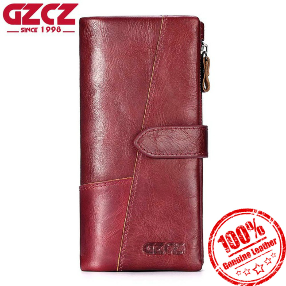 GZCZ Women Wallet Genuine Leather Female Long Large Capacity Wallets Woman Fashion Lady Clutch Hasp Coin Purse Pocket Money Bag gzcz women wallet female long coin purse genuine leather clutch lady wallets luxury brand for money slim bags large capacity