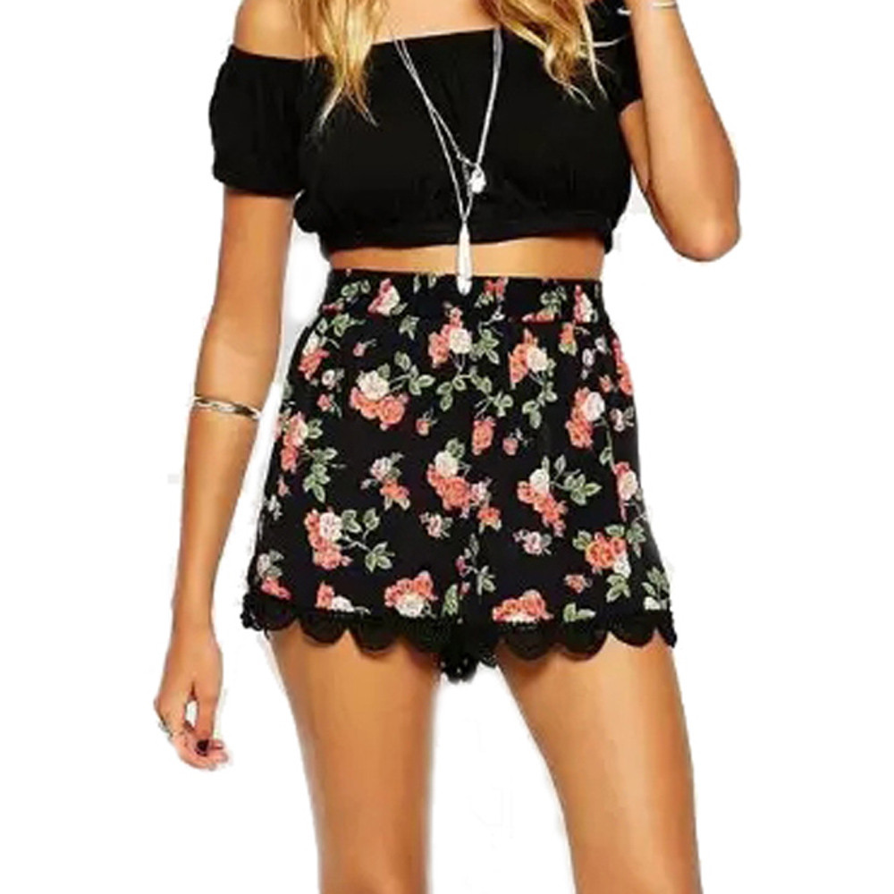 Summer Fashion Womens Floral Print Shorts Sexy Girls High Waist Loose Shorts Casual Lace Patchwork Shorts Homewear Modis C