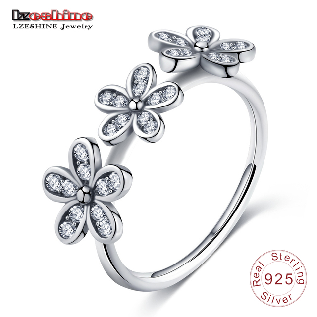 LZESHINE 925 Sterling Silver Jewelry Finger Rings with AAA Crystal Flowers Silve