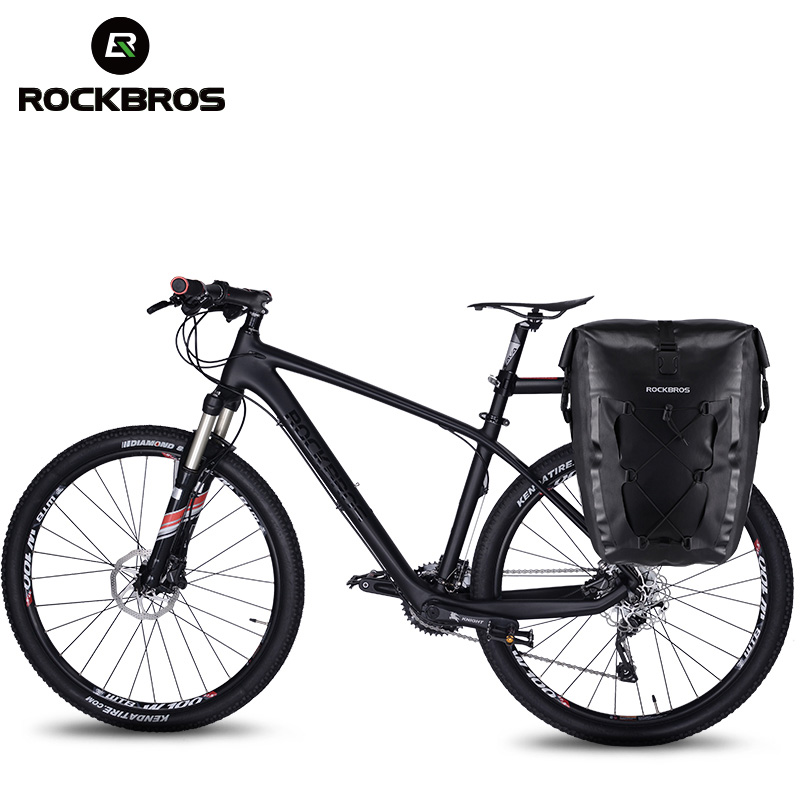 ROCKBROS 20L Bike Bag Waterproof Cycling Bicycle Rear Rack Bag Tail Seat Trunk Bags Pannier Big Basket Case MTB Bike Accessories roswheel mtb bike bag 10l full waterproof bicycle saddle bag mountain bike rear seat bag cycling tail bag bicycle accessories