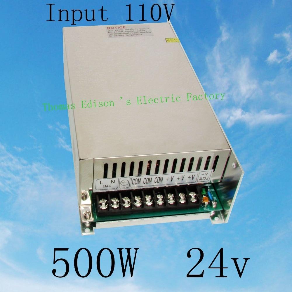 DIANQI power suply 24v 500w input 110v ac to dc power supply ac dc converter  high quality led driver S-500-24 best quality 12v 15a 180w switching power supply driver for led strip ac 100 240v input to dc 12v