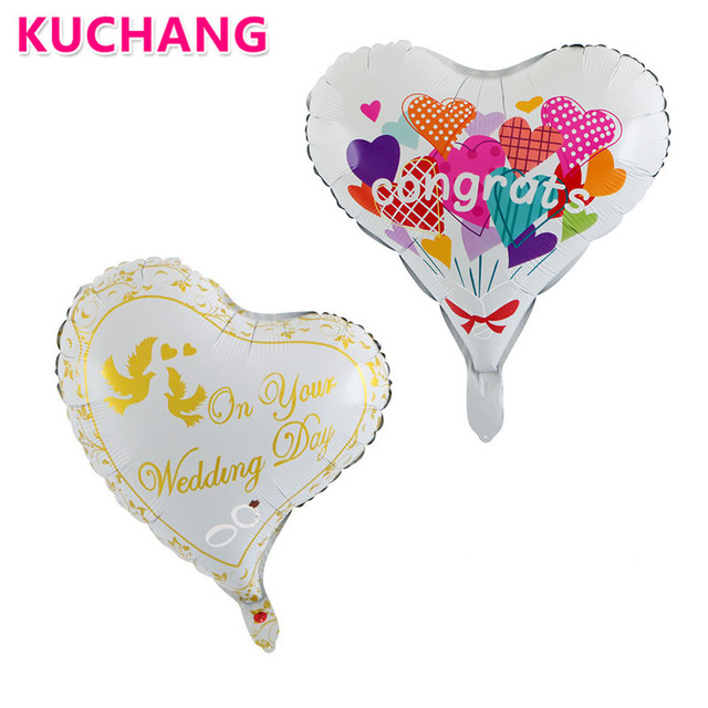 50pcslot 18inch heart shaped congrats on your wedding day foil balloons helium floating wedding