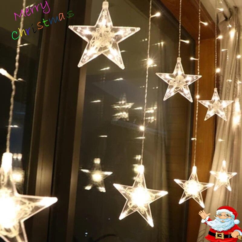 Led Natal luzes Cordas De Fadas Ao Ar Livre AC220V Plugue DA UE Garland Decorações Lâmpada para iluminação Do Feriado de Casamento Festa Em Casa de Jardim