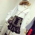 New Design Primavera Verão Saias Ternos das Mulheres Ruffle Camisa de Manga Branca E Dourada Retro Bordado Preto Ternos Saia Definir NS607