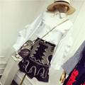 New Design Spring Summer Women's Skirts Suits White Ruffle Sleeve Shirt And Golden Retro Embroidery Black Skirt Suits Set NS607